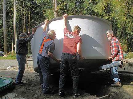 Volunteers at the Charters River Salmon Interpretive Centre